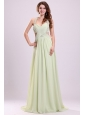 Sexy Empire Halter Chiffon Brush Train Criss Cross Beading Prom Dress in Yellow Green