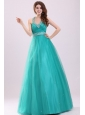 Turquoise Hatter Top Beading and Ruching Prom Dress
