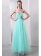 A-line Aqua Blue Sweetheart Beading and Ruching Organza Prom Dres