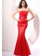 Brand New Strapless Mermaid Red Ruche Floor-length Prom Dress