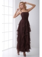 Column Purple Chiffon Ankle-length Prom Dress with Straps