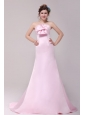 Formal 2014 Princess Strapless Bowknot Brush Train Prom Dress in Pink