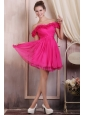 Hot Pink Short Mini-length Prom Dress with Off The Shoulder Flowers