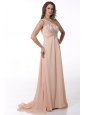 Peach Empire One Shoulder Brush Train Prom Dress with Beading