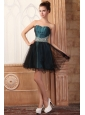 Peacock Green and Black Short Prom Dress with Beading Mini-length