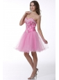 Princess Baby Pink Sweetheart Appliques Knee-length Prom Cocktail Dress