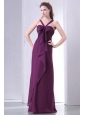 Purple Empire V-neck Straps Prom Dress with Bowknot