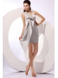 Sexy Column V-neck Mini-length Grey Prom Dress