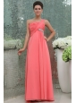 Watermelon Red One Shoulder Ruching Beading Floor-length Prom Dress