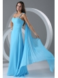 Watteau Train Aqua Blue Empire One Shoulder Prom Dress with Beading