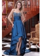 A-line Blue Sweetheart Beading and Ruching High-low Prom Dress