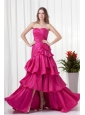 A-line Sweetheart Fuchsia High Low Ruching Bowknot Taffeta Prom Dress
