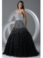 Black Ball Gown Strapless Prom Dress with Beading and Sequins