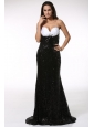 Black Sequined Prom Dress with Sweetheart Brush Train