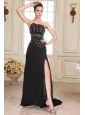 Black Strapless Beading and High Silt Empire Sweep Train Prom Dress