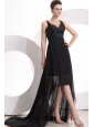 Black V-neck High-low Ruche Decorate Prom Dress with Sweep Train