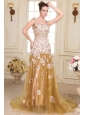 Champagne Empire Straps Appliques Prom Dress with Brush Train