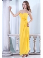 Cheap Yellow Sweetheart Prom Dress with Flowers and Ruching