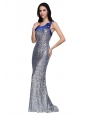 Column One Shoulder Silver Sequins High Slit Brush Train Prom Dress
