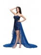 Column Royal Blue Strapless Lace Beading High-low Prom Dress