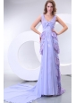 Column V-neck Chiffon Lace Watteau Train Prom Dress for 2014 Spring