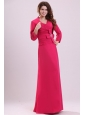 Column V-neck Ruching Hot Pink Prom Dress with Chiffon