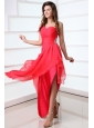 Coral Red Column Chiffon One Shoulder High-low Beading Chiffon Prom Dress