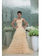Elegant Princess One Shoulder Brush Train Champagne Appliques and Ruching Chiffon Prom Dress