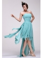 Empire Auqa Blue 2014 High-low Prom Dress with Beading