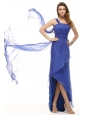 Empire One Shoulder Blue Asymmetrical Ruching Prom Dress