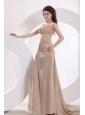 Empire Sweetheart  Champagne Ruching Chiffon Brush Train Prom Dress