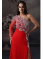 High Slit One Shoulder Red Prom Dress with Beading Long Sleeve