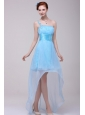 Light Blue One Shoulder High-low Beaded Decorate Prom Dress for Girls