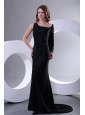 Modest Asymmetrical Black Column Sweep Train Prom Dress with Long Sleeve