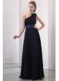 Navy Blue Empire One Shoulder Prom Dress with Beading and Flower