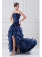 Navy Blue Strapless A-line Ruffles High-low Organza Prom Dress