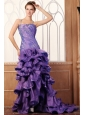 Purple Column Spaghetti Straps Prom Dress with Beading and Layers