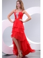 Red Empire Spaghetti Straps Beaded Decorate High-low Prom Dress