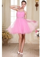 Rose Pink Halter Top Neck Mini-length Beading Prom Dress with Organza