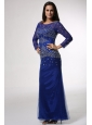 Royal Blue Column Scoop Beaded Prom Dress with Long Sleeves