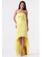 Simple Yellow High-Low Prom Dress with Strapless
