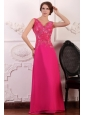 V-neck Empire Chiffon Appliques with Beading Prom Dress in Hot Pink