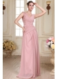 V-neck Floor-length Ruche Decorate Empire Chiffon Prom Dress
