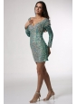 V-neck Long Sleeves Turquoise Short Prom Dress with Beading