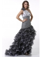 White and Black One Shoulder High-Low Prom Dress with Ruffled Layers