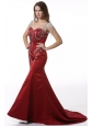 Wine Red Court Train V-neck Mermaid Prom Dress with Beading