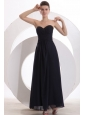 Beaded Decorate Brust Sweetheart Chiffon Black Ankle-length Prom Dress