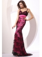 Column Straps Embriodery Prom Dress with Brush Train in Hot Pink