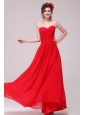Low Price Red Sweetheart Prom Dress with Chiffon Ruches