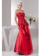 Red Sweetheart Column Floor-length Ruching Taffeta Prom Dress